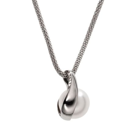 Skagen Classic pearl silver stainless steel necklace