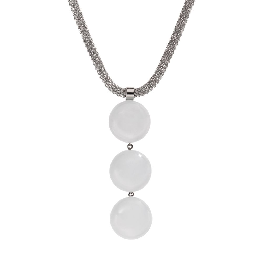 Classic white glass silver steel necklace