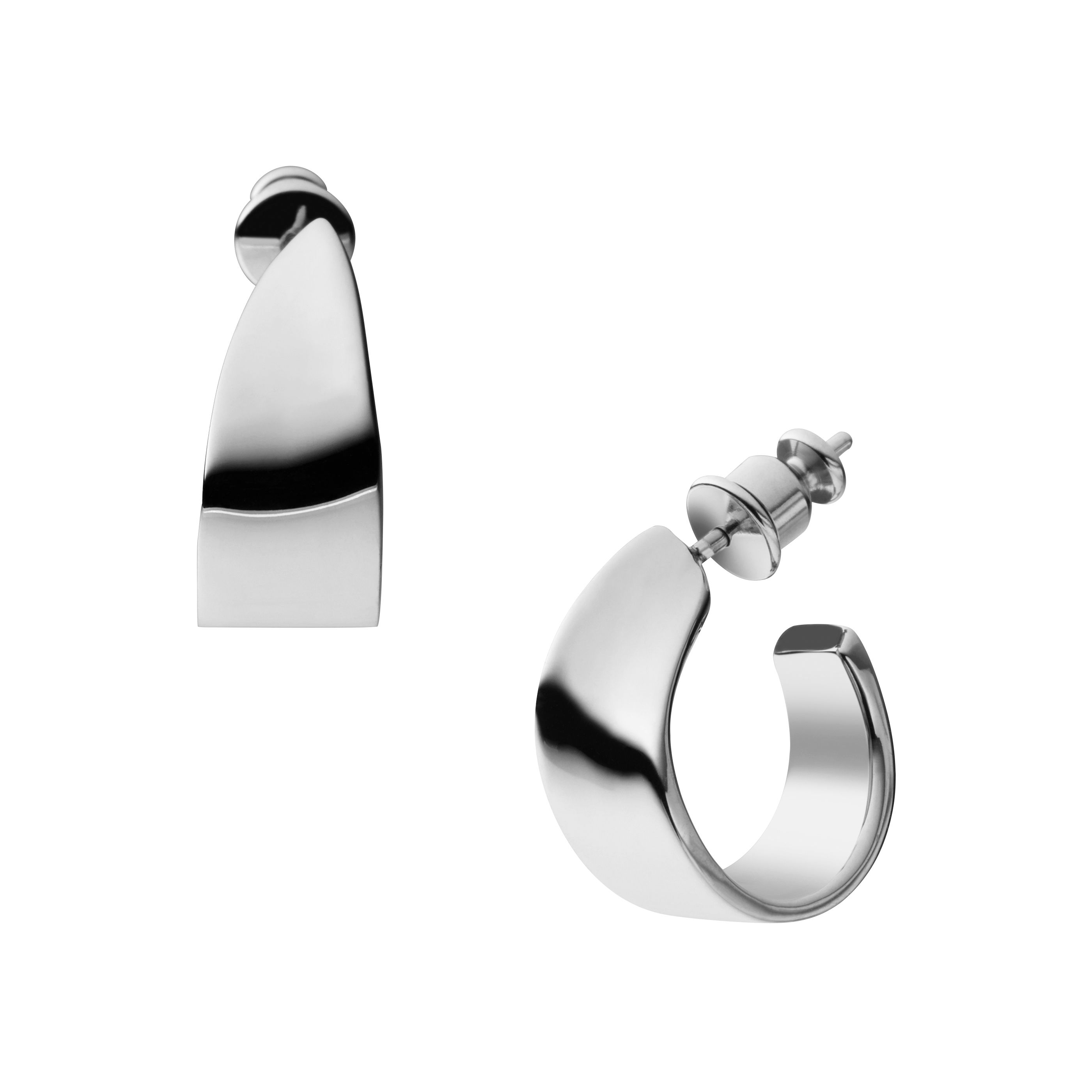 Classic silver stainless steel earrings
