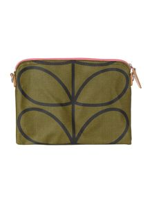 Green giant stem print top zip travel pouchette