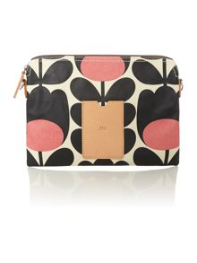 Multi-coloured stem print top zip travel pouch