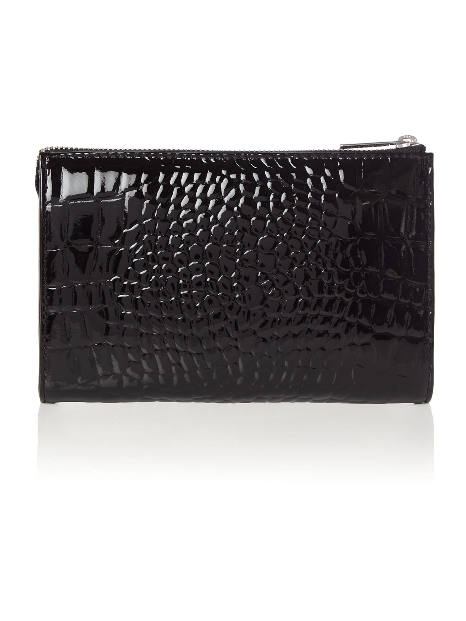 Black patent small croc cross body with chain
