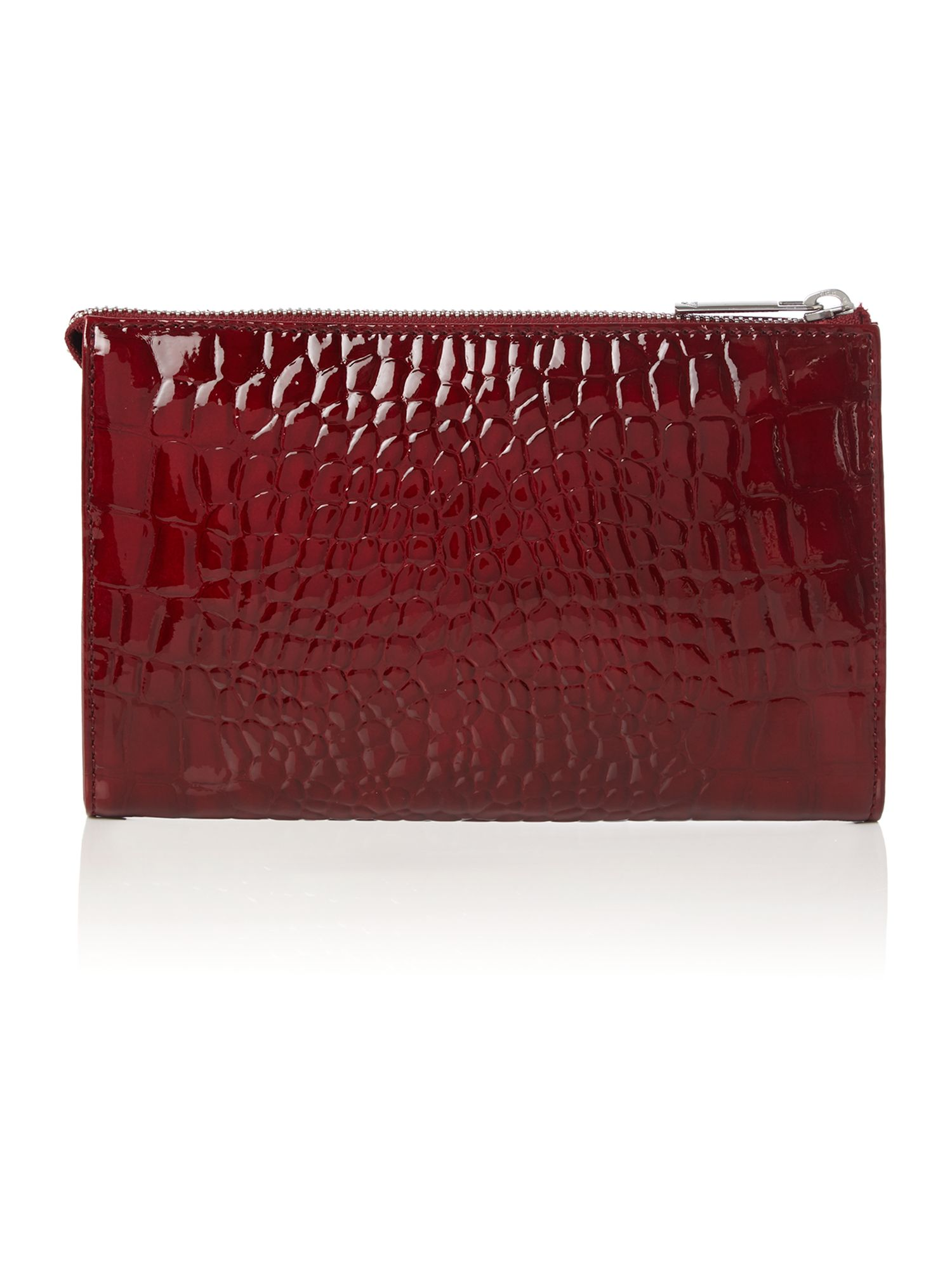Red patent small croc cross body with chain