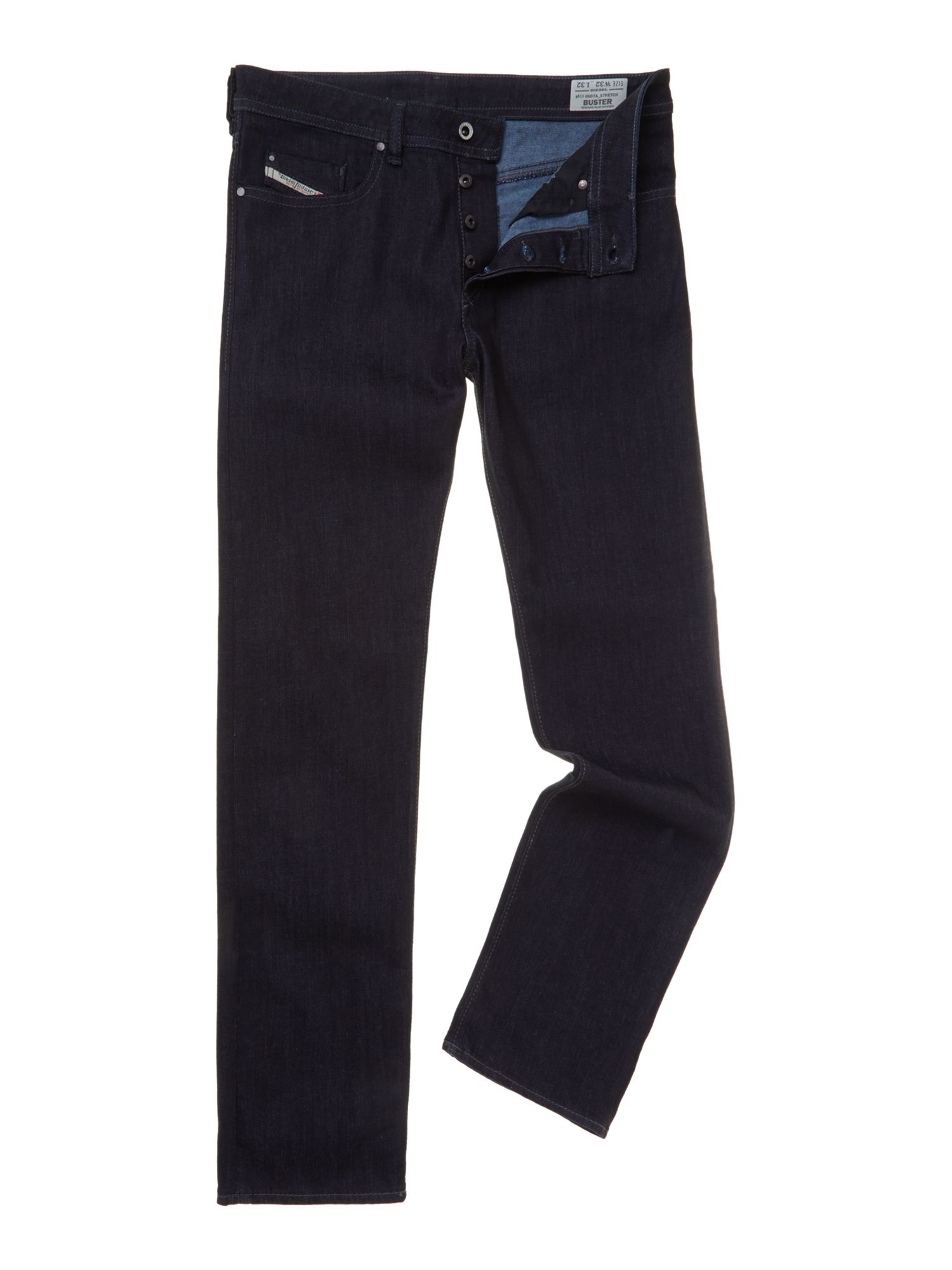 Mens Buster 607a Slim Tapered Fit Stretch Jeans, Denim Indigo