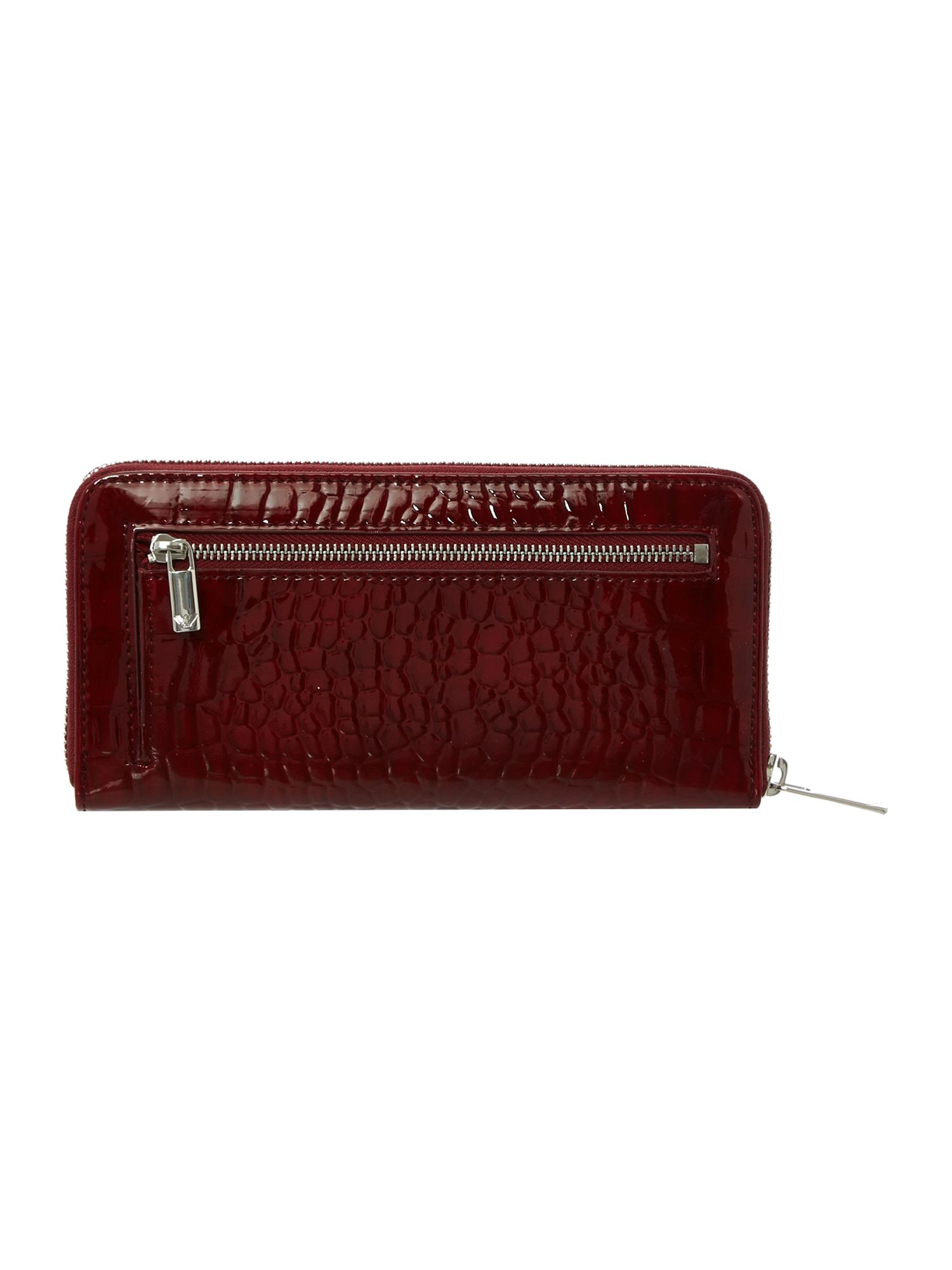 Red logo ziparound purse