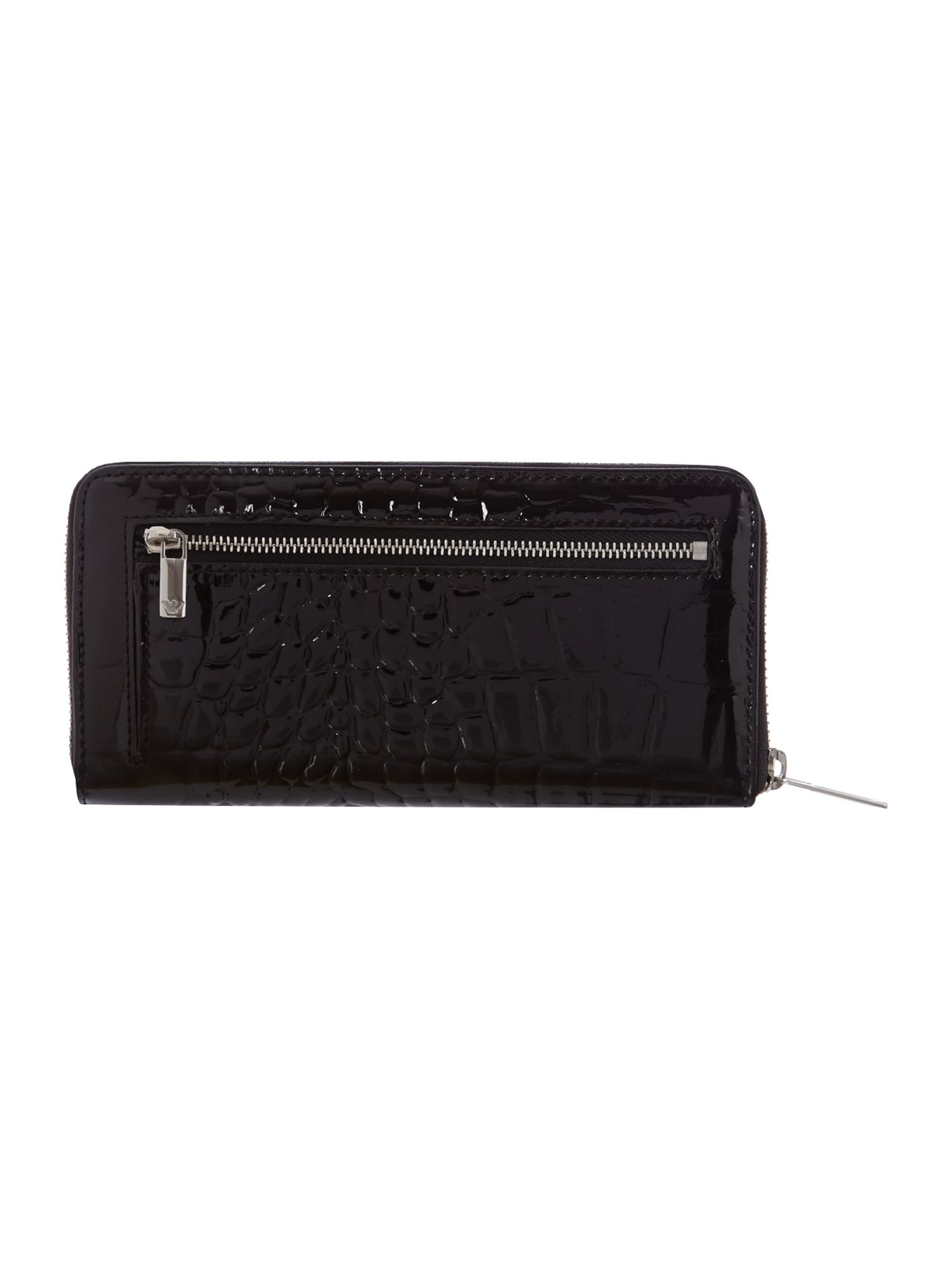 Black patent croc ziparound purse