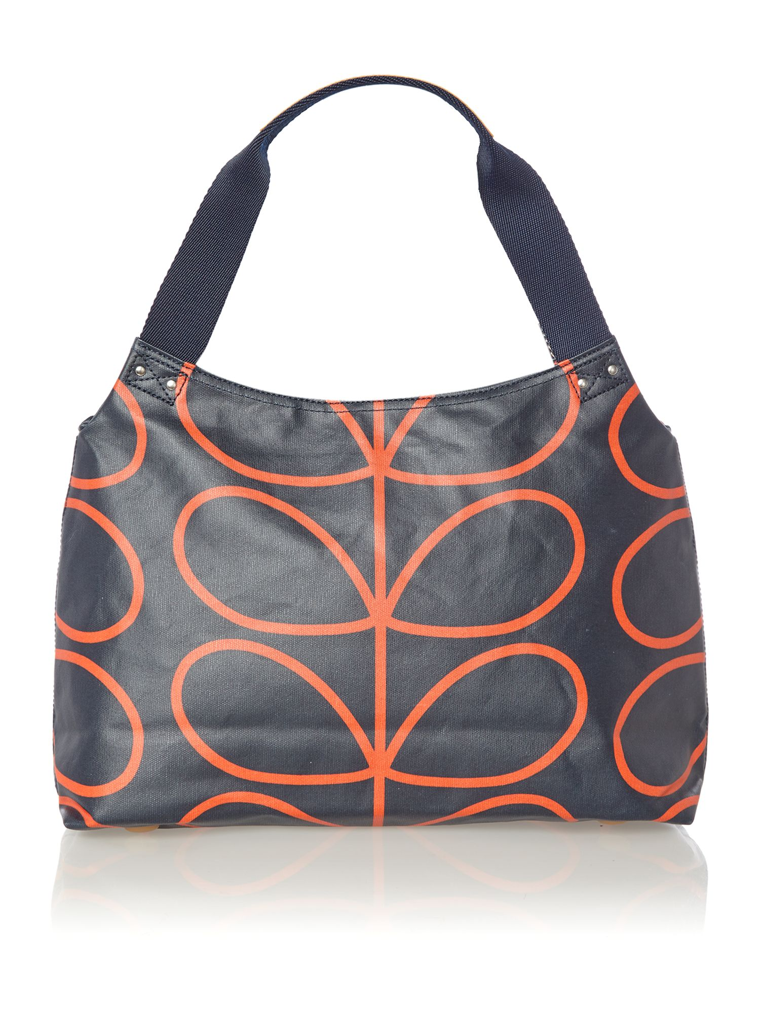Navy giant stem print zip shoulder bag