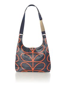 Navy giant stem print sling cross body bag