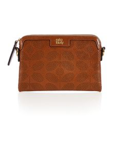 Brown stem punched cross body bag