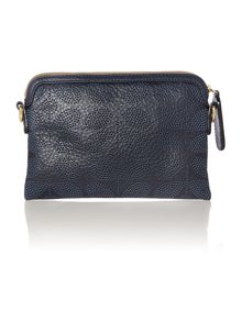 Navy stem punched cross body bag