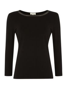 Woven Trim 3/4 Sleeve Jersey Top
