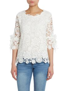 Crocheted lace 3/4 sleeve top
