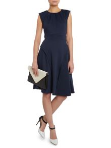 Pleated neck flared dress