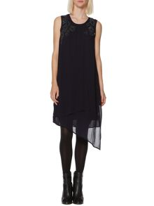 Compact sequin embellished asymmetric dress