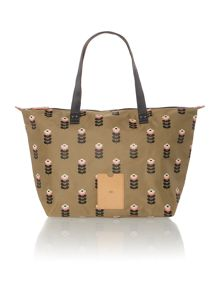Neutral buttercup stem print tote bag