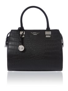 Hudson black croc bowling bag