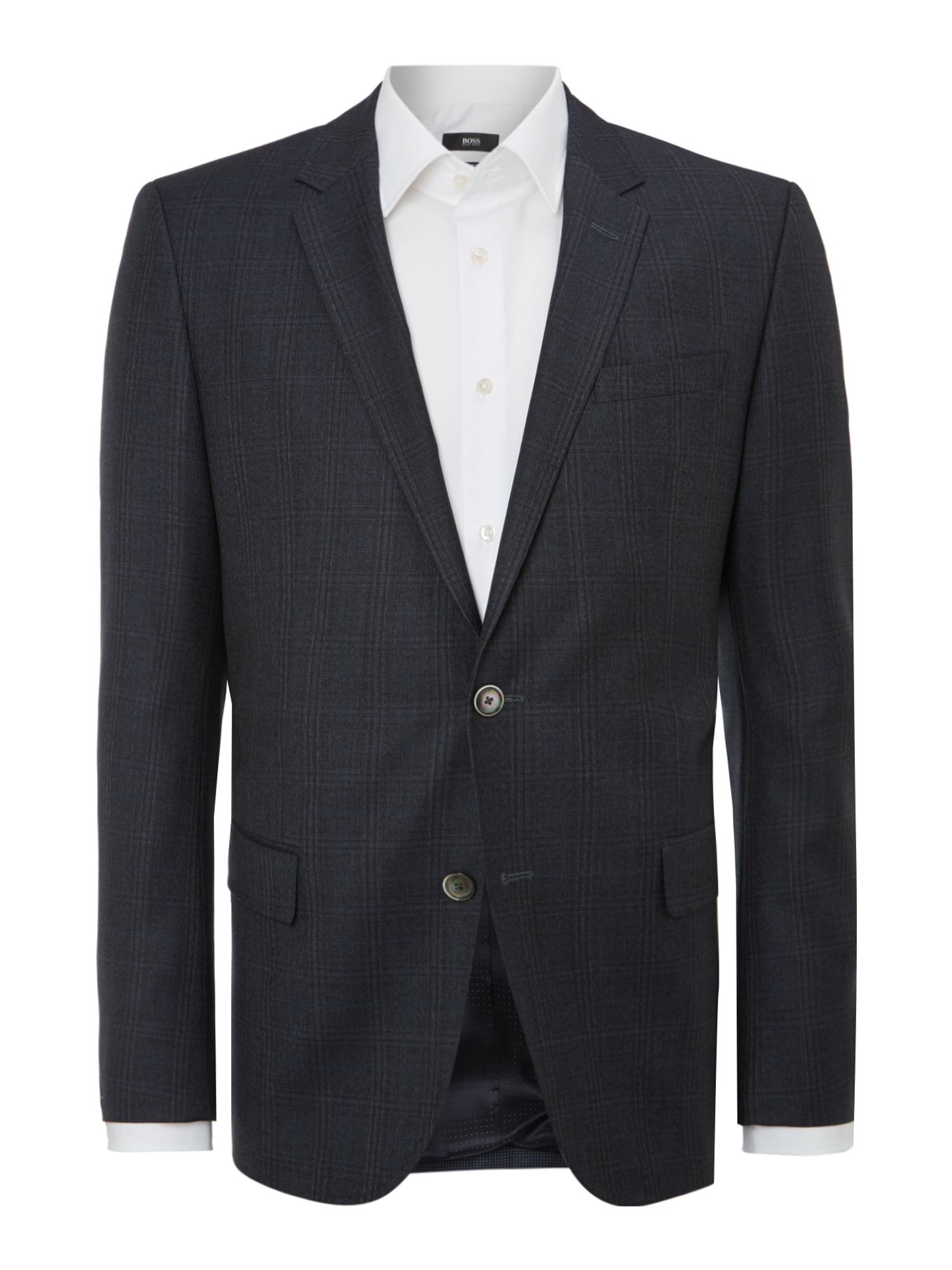 Mens Hugo Boss Hutsons slim fit check jacket Navy