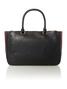 Black stripe medium tote bag