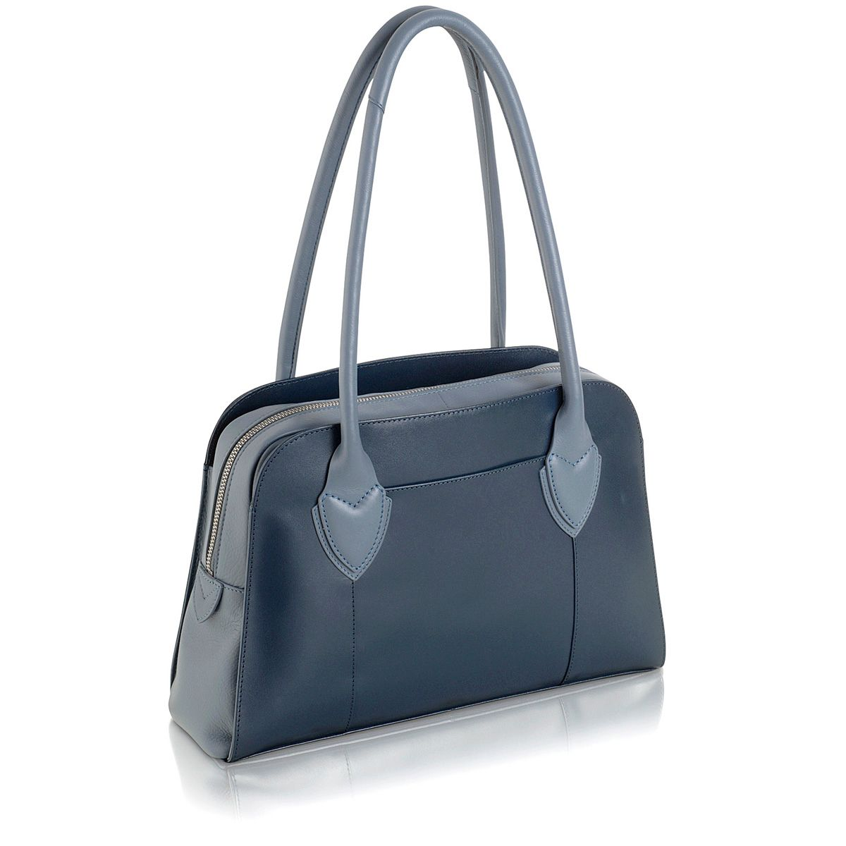 Aldgate plain navy leather ziptop tote medium bag