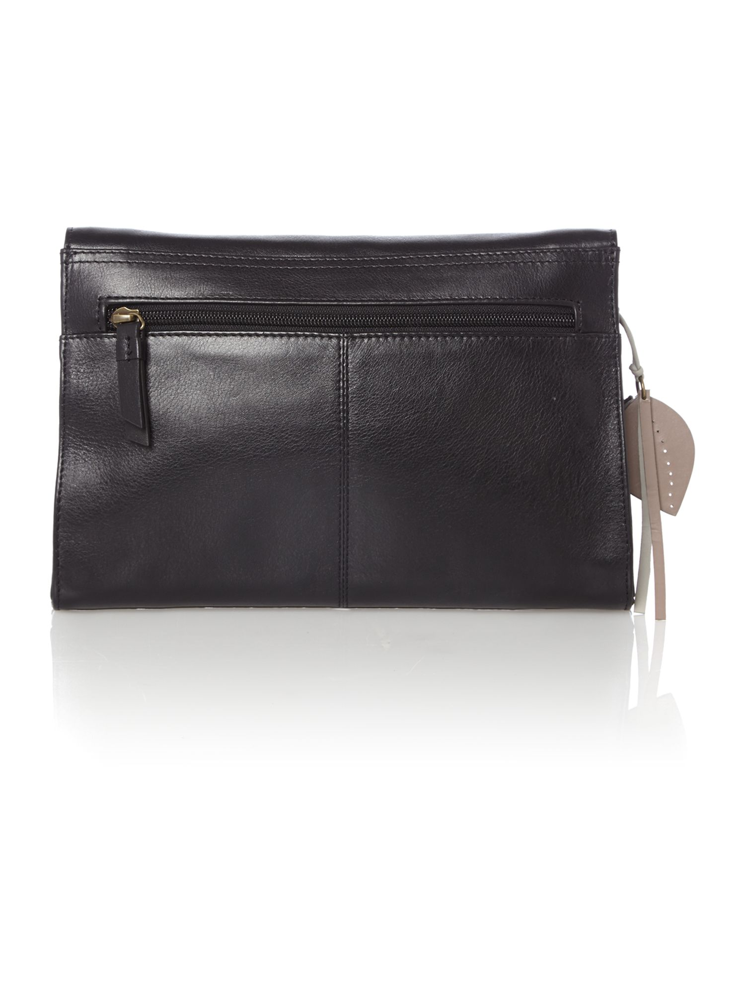 Border black leather large flapover clutch bag