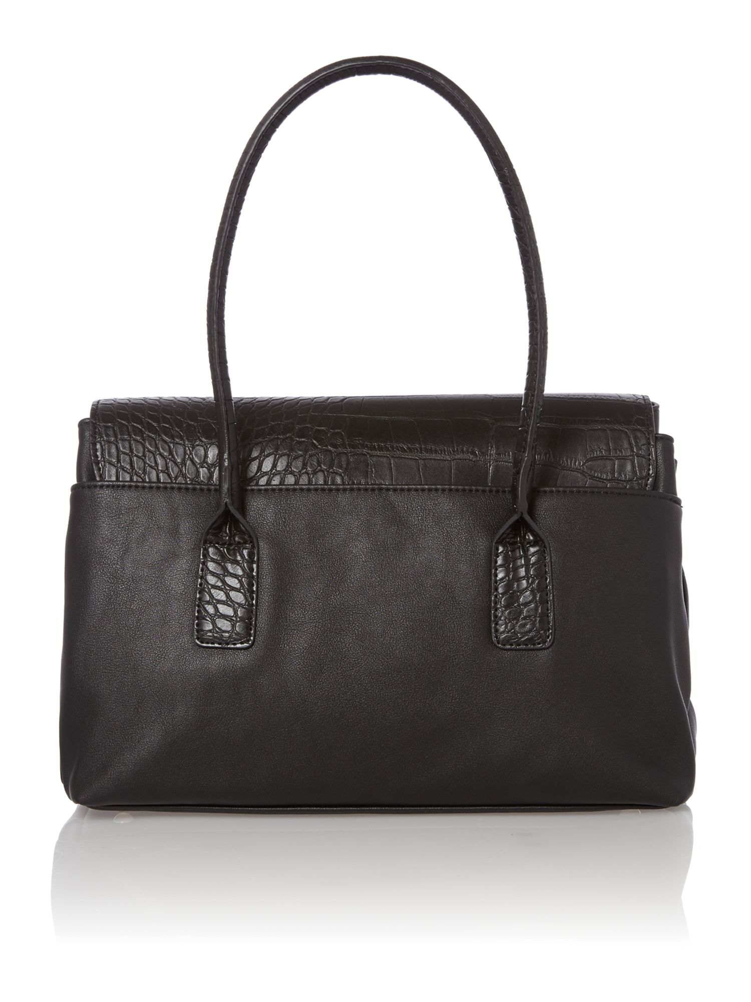 Olivia Jade black flap over tote bag