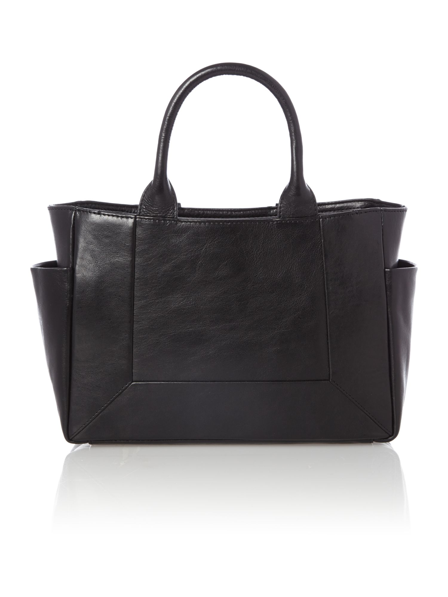Border black leather medium ziptop multiway bag
