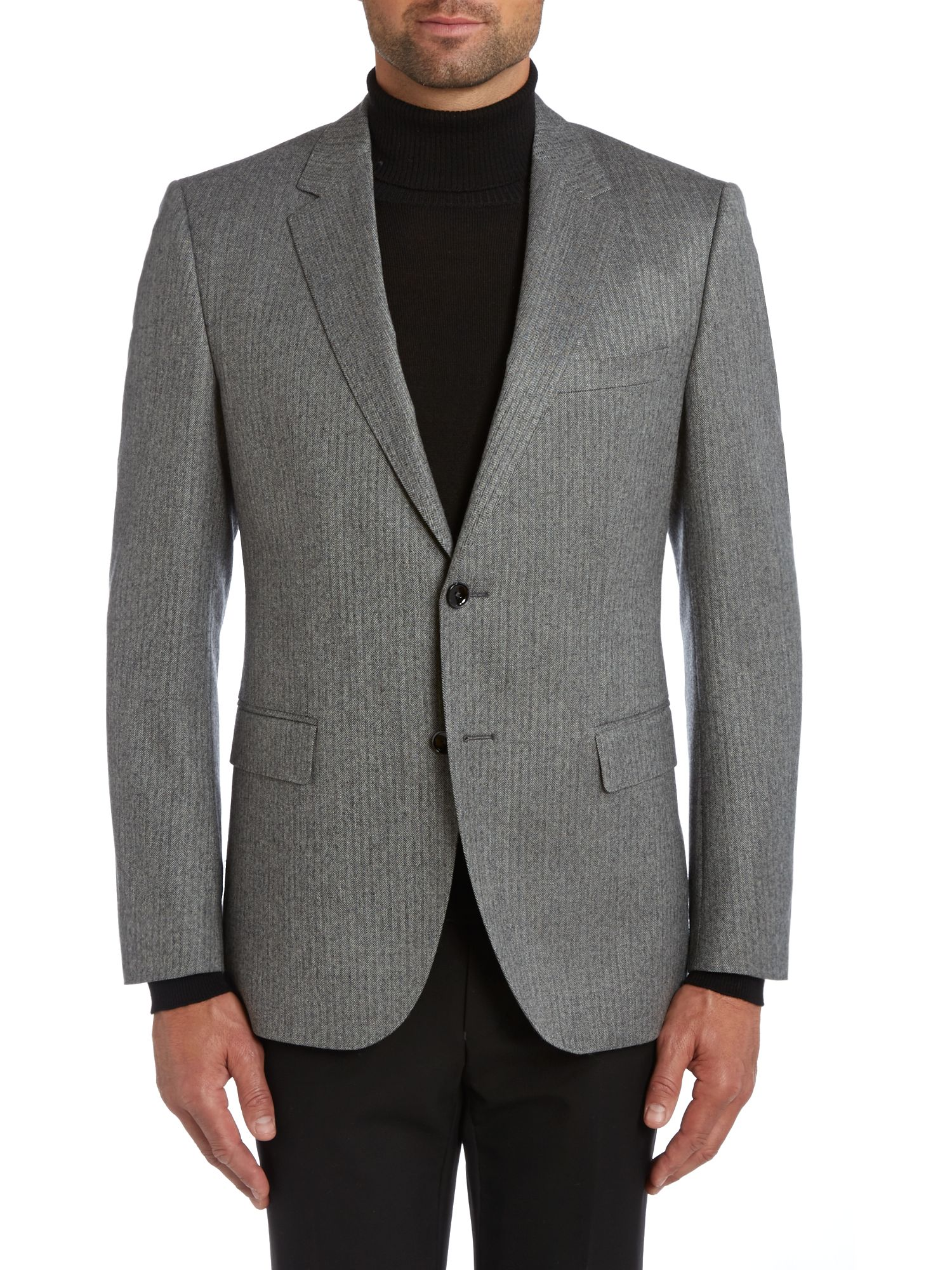 Keys regular fit herringbone jacket