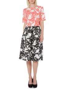 Palm print full midi skirt