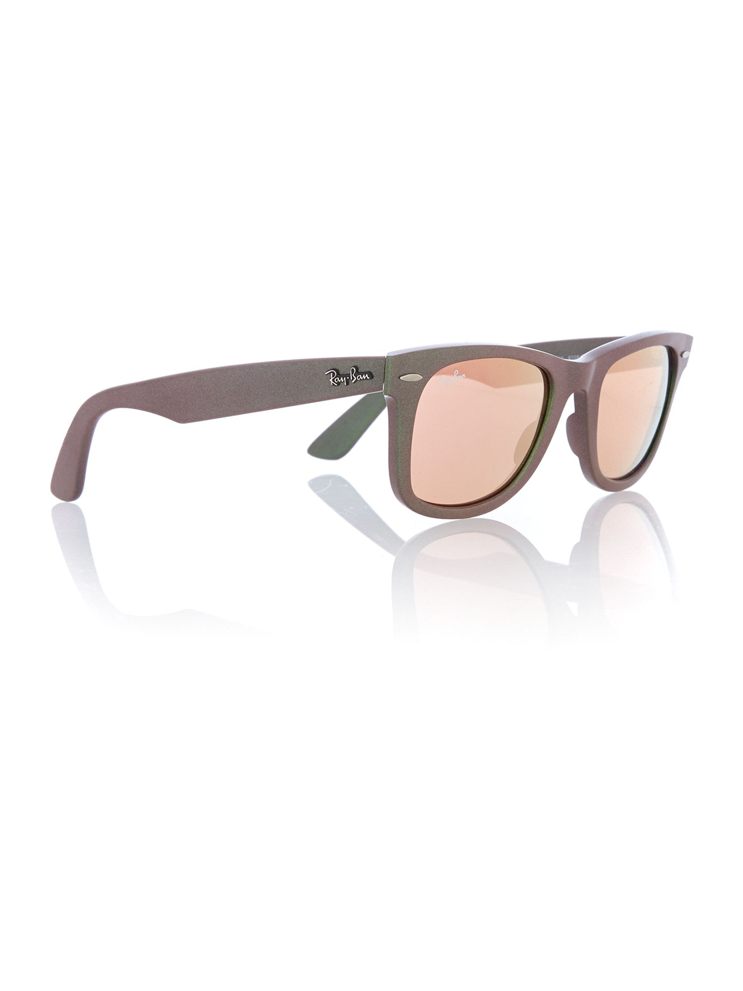 Unisex light brown mirror pink squared sunglasses