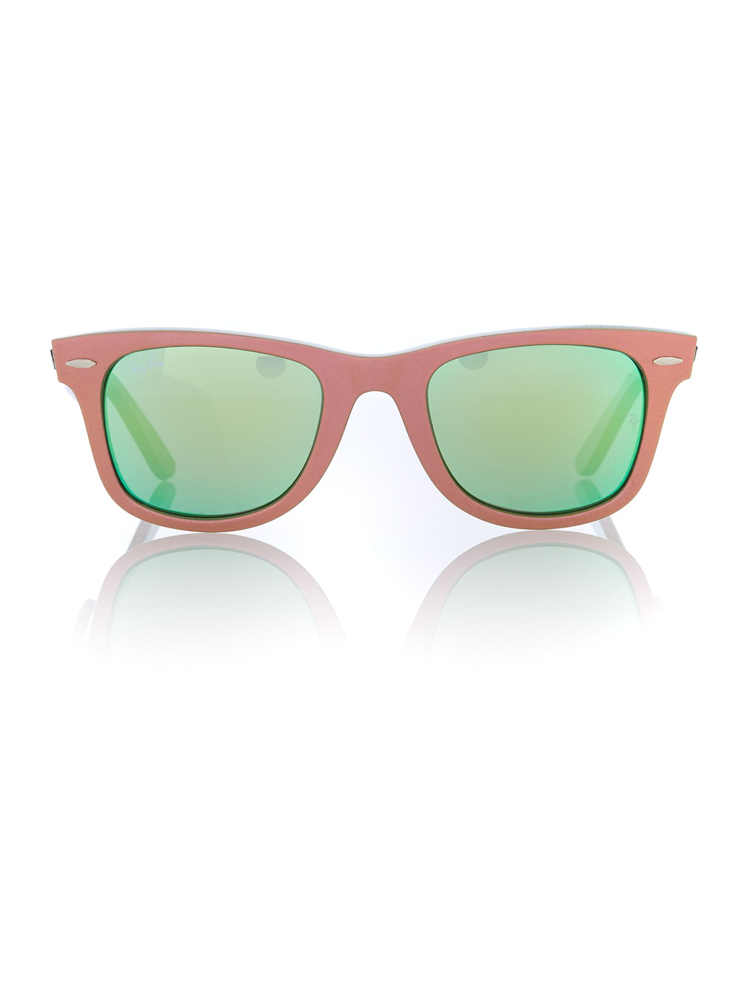 Unisex grey mirror green squared sunglasses