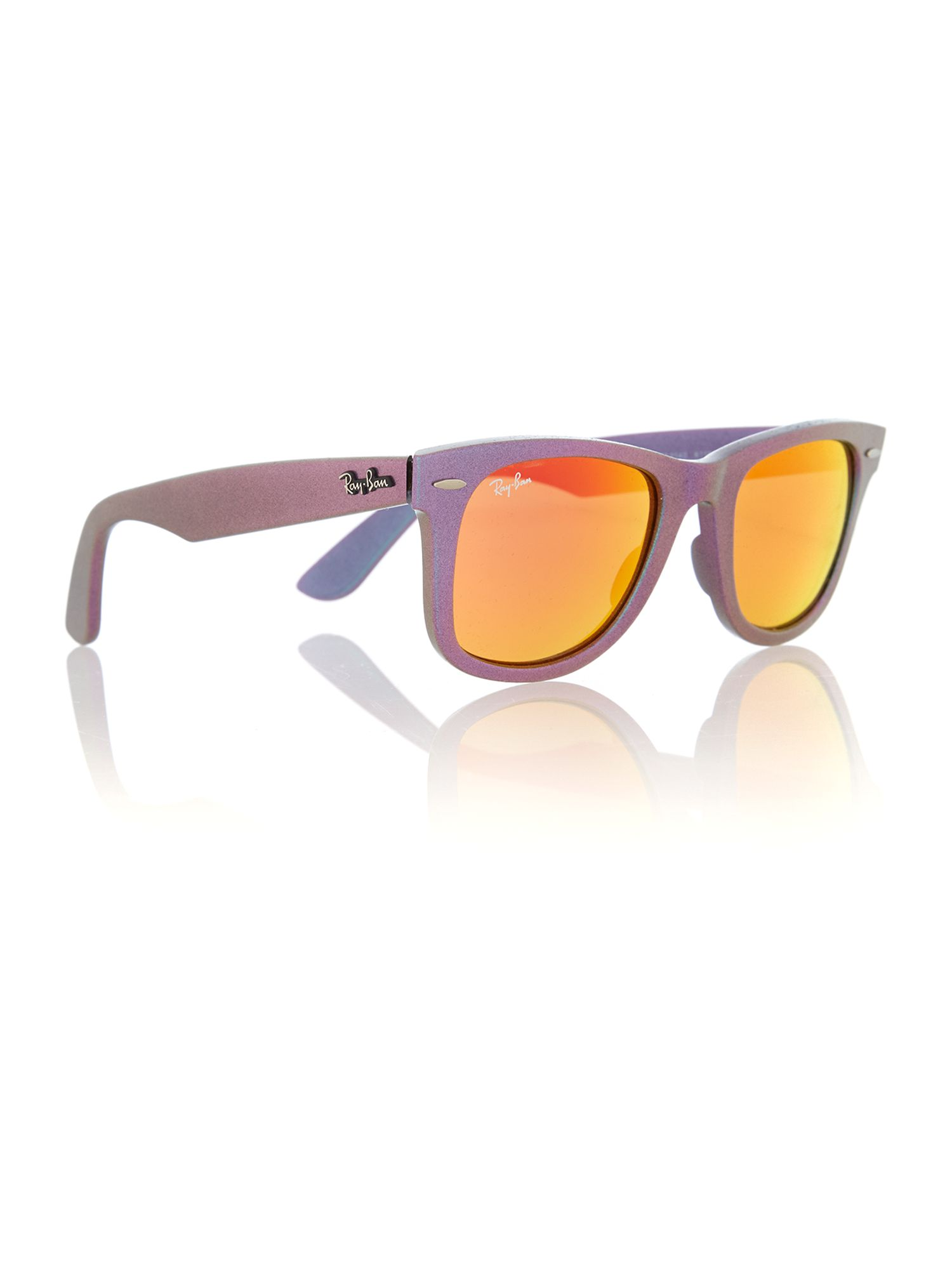 Unisex brown mirror orange squared sunglasses