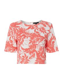 Palm print crop shell top