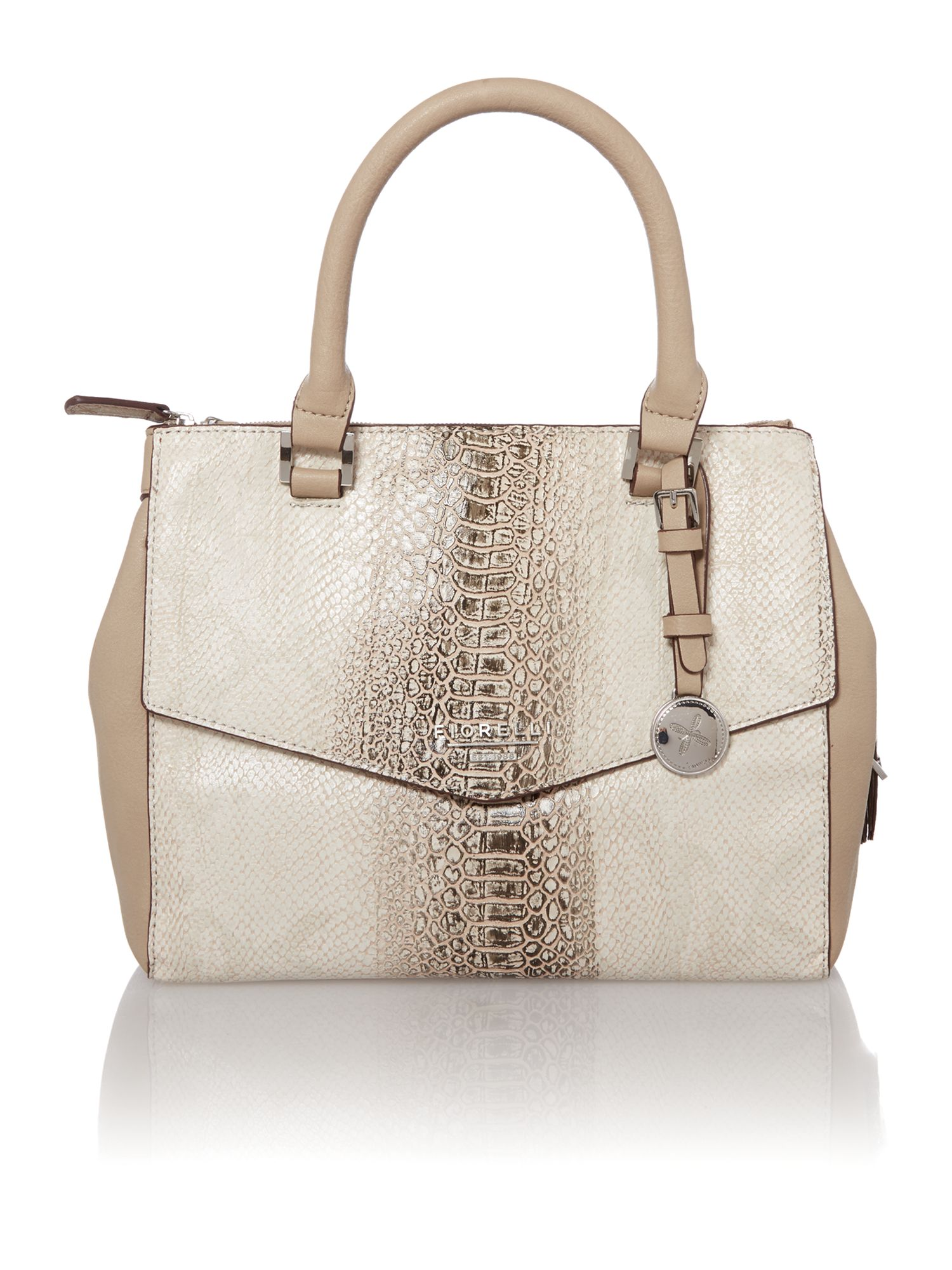 Mia neutral snake small cross body tote bag