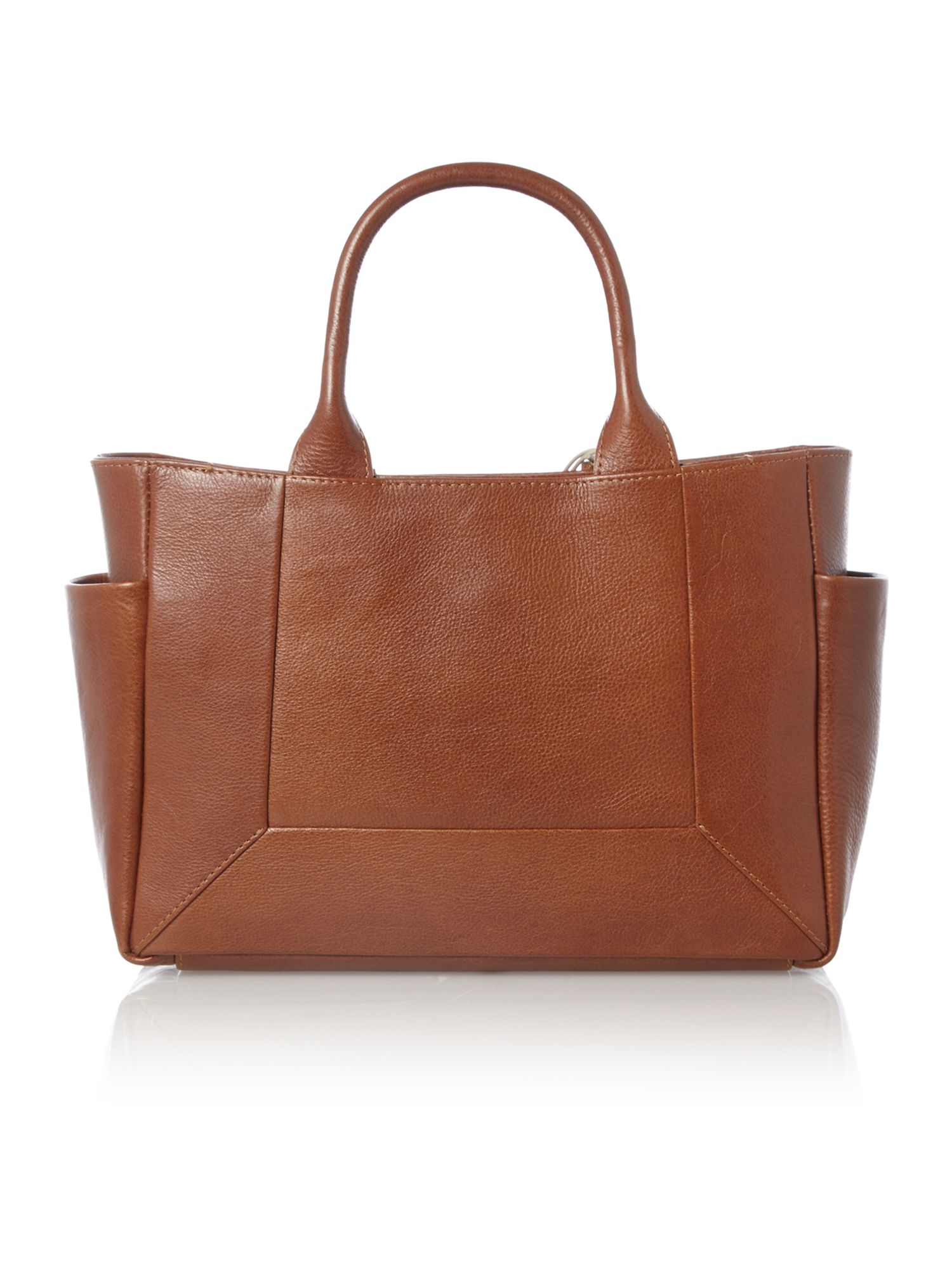 Border tan leather medium ziptop multiway bag
