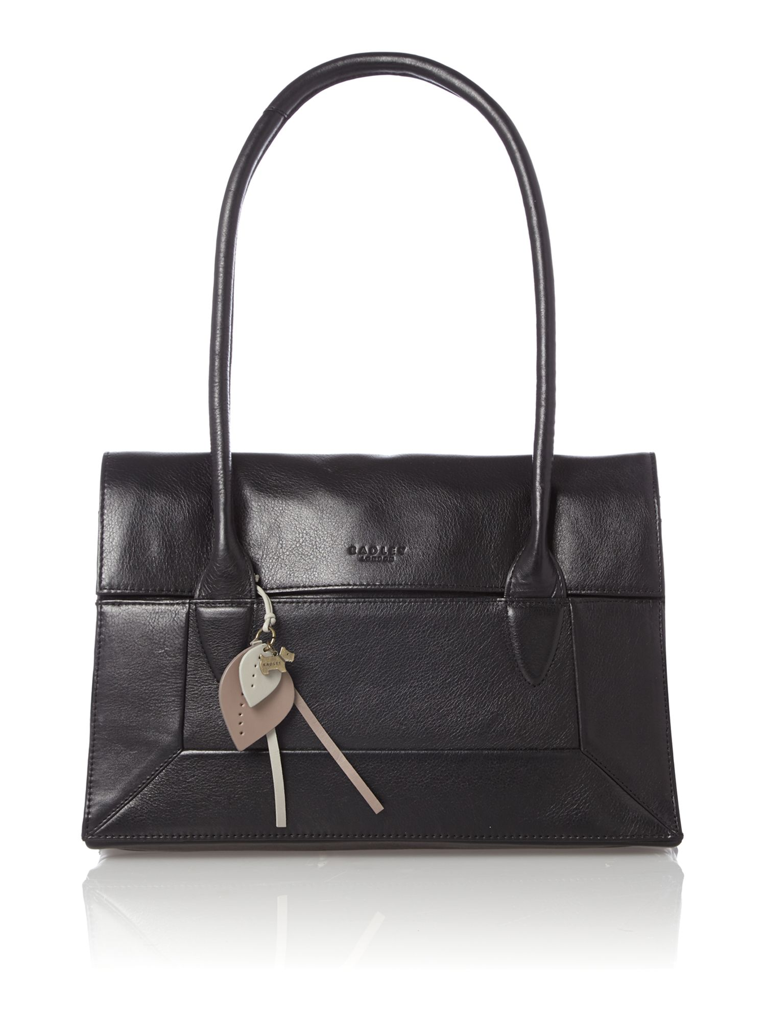 Border black leather medium flapover tote bag