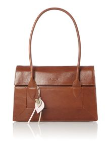 Border tan leather medium flapover tote bag