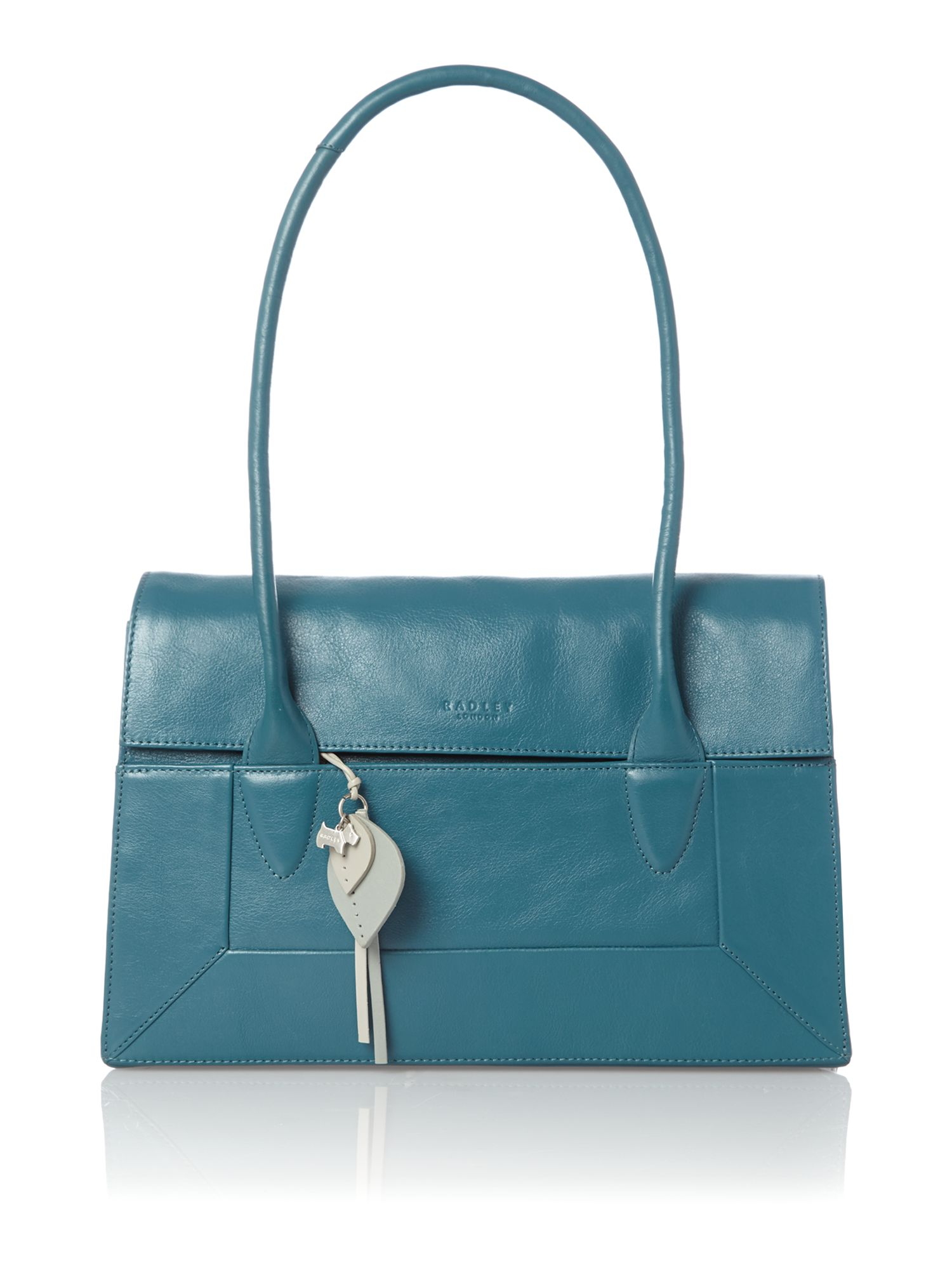 Border blue leather medium flapover tote bag