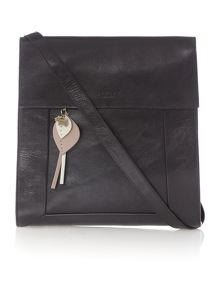 Border black leather large flapover xbody bag