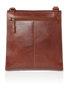 Border tan leather large flapover xbody bag