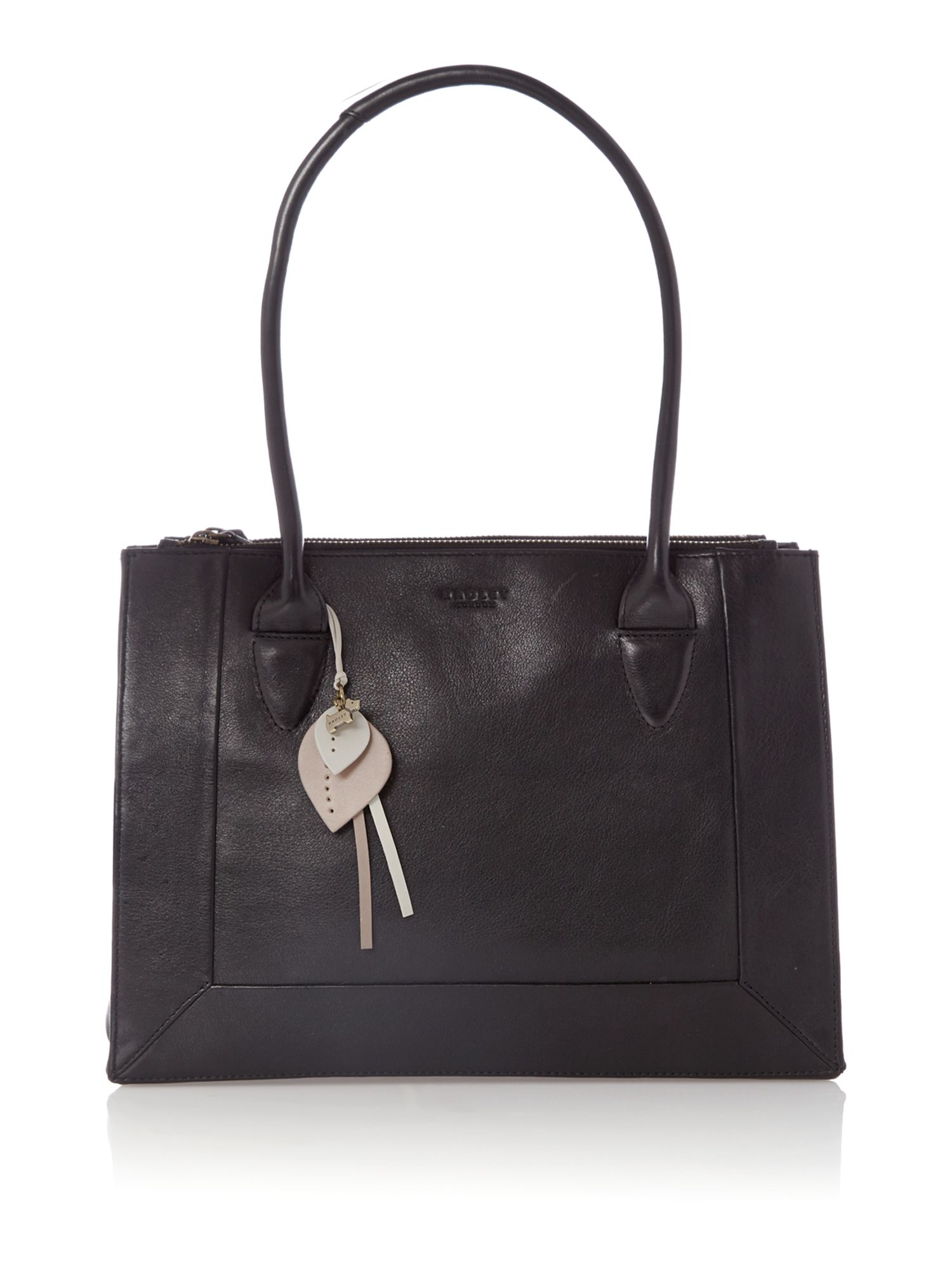 Border black leather medium ziptop tote bag