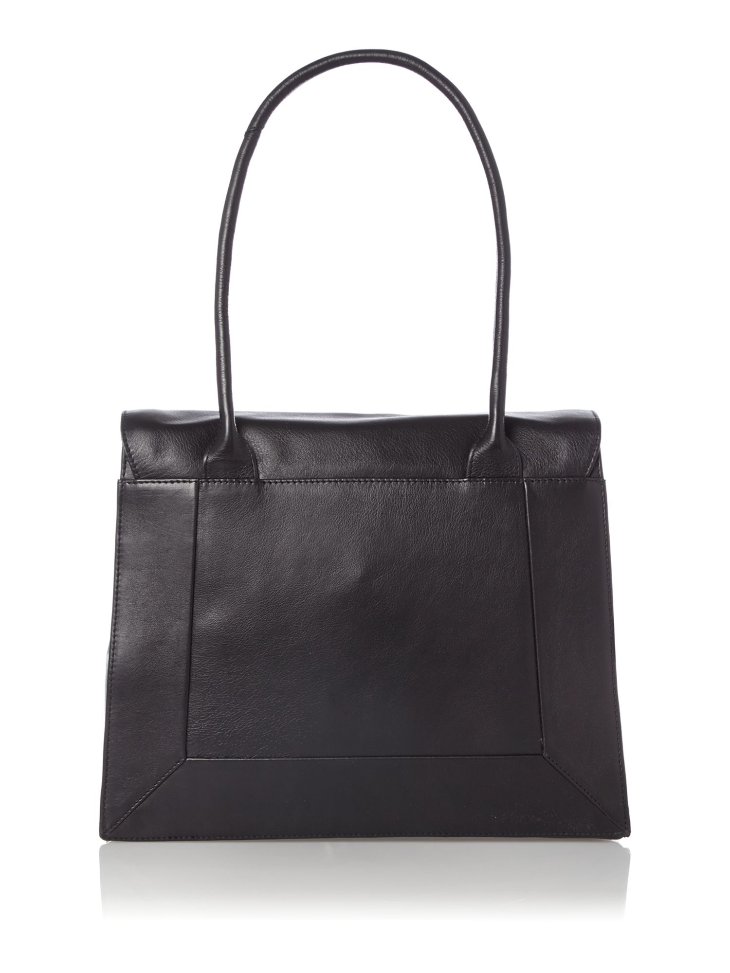 Border black leather large flapover tote bag