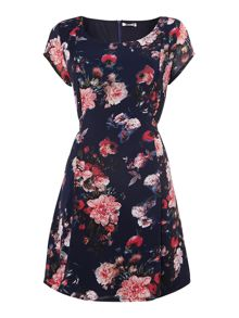 Capped sleeved fit and flare floral dress