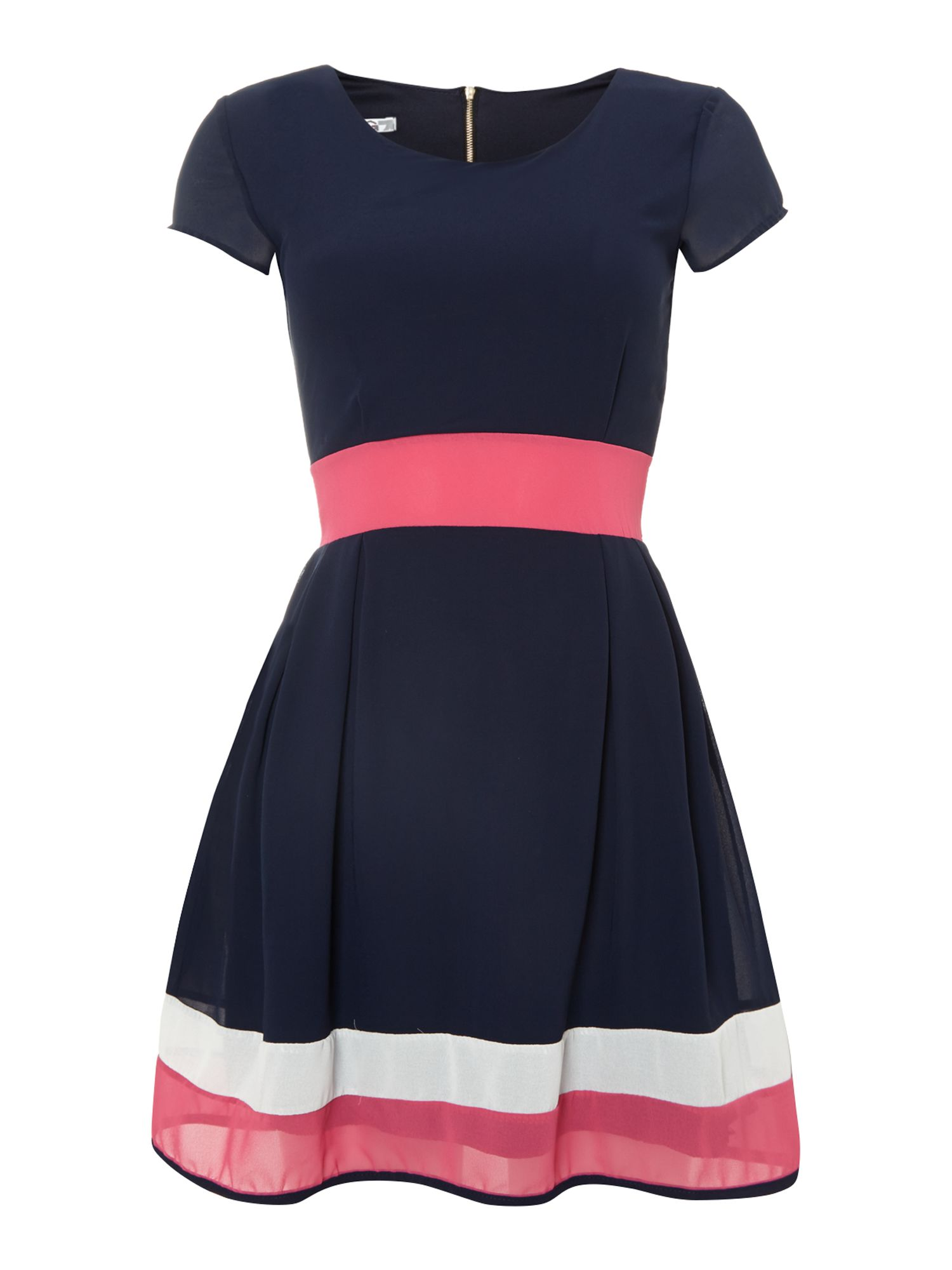 Colour block wasit and hem fit and flare dress