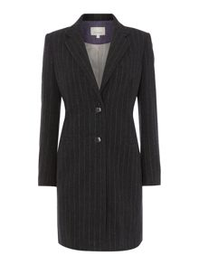 Luxury wool and cashmere blend pinstripe coat