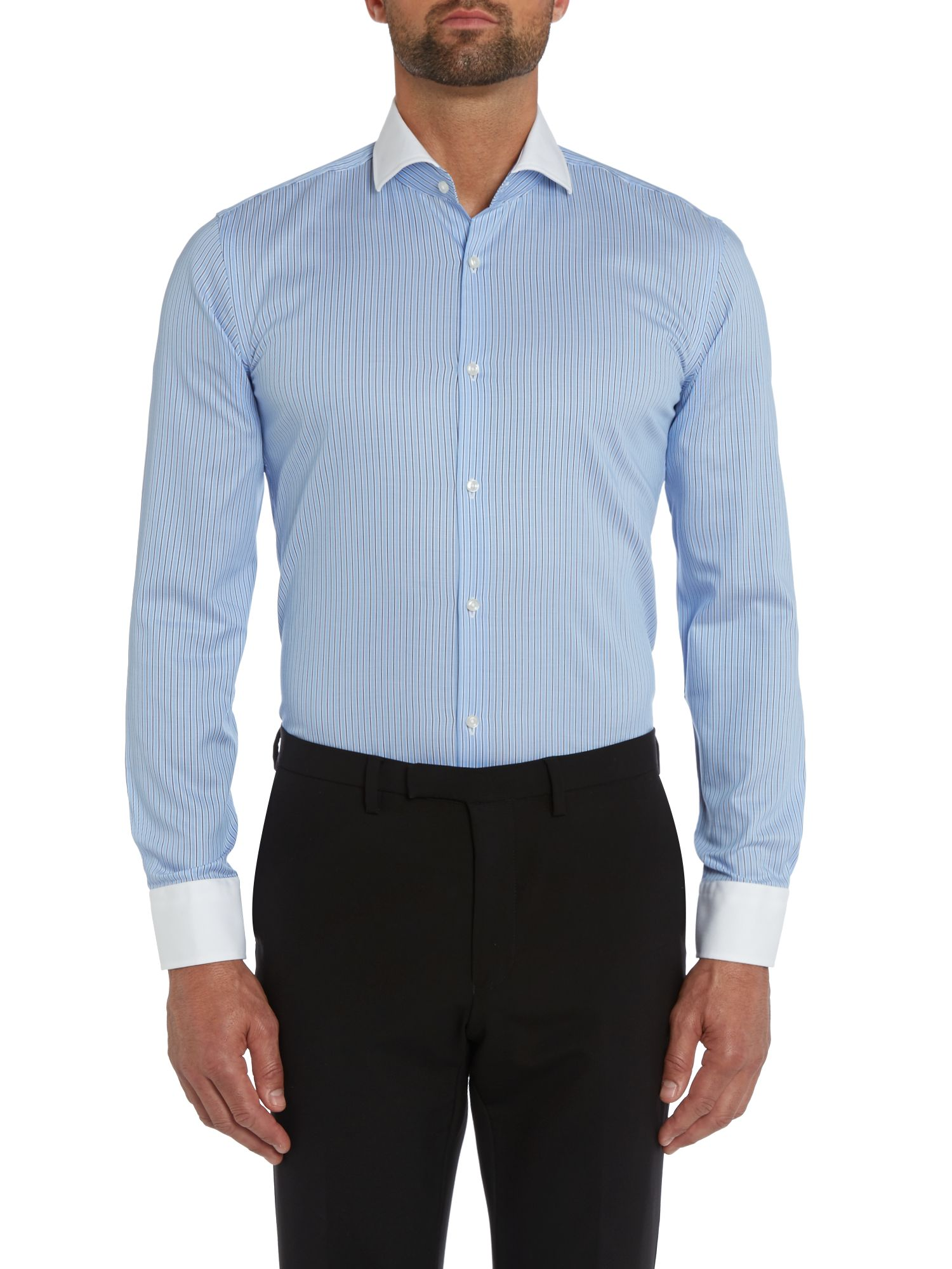 Jonah slim fit subtle check contrast collar