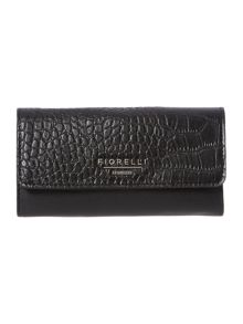 Sadie black croc large flapover purse