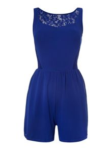 FIT AND FLARE LACE PANEL PLAYSUIT