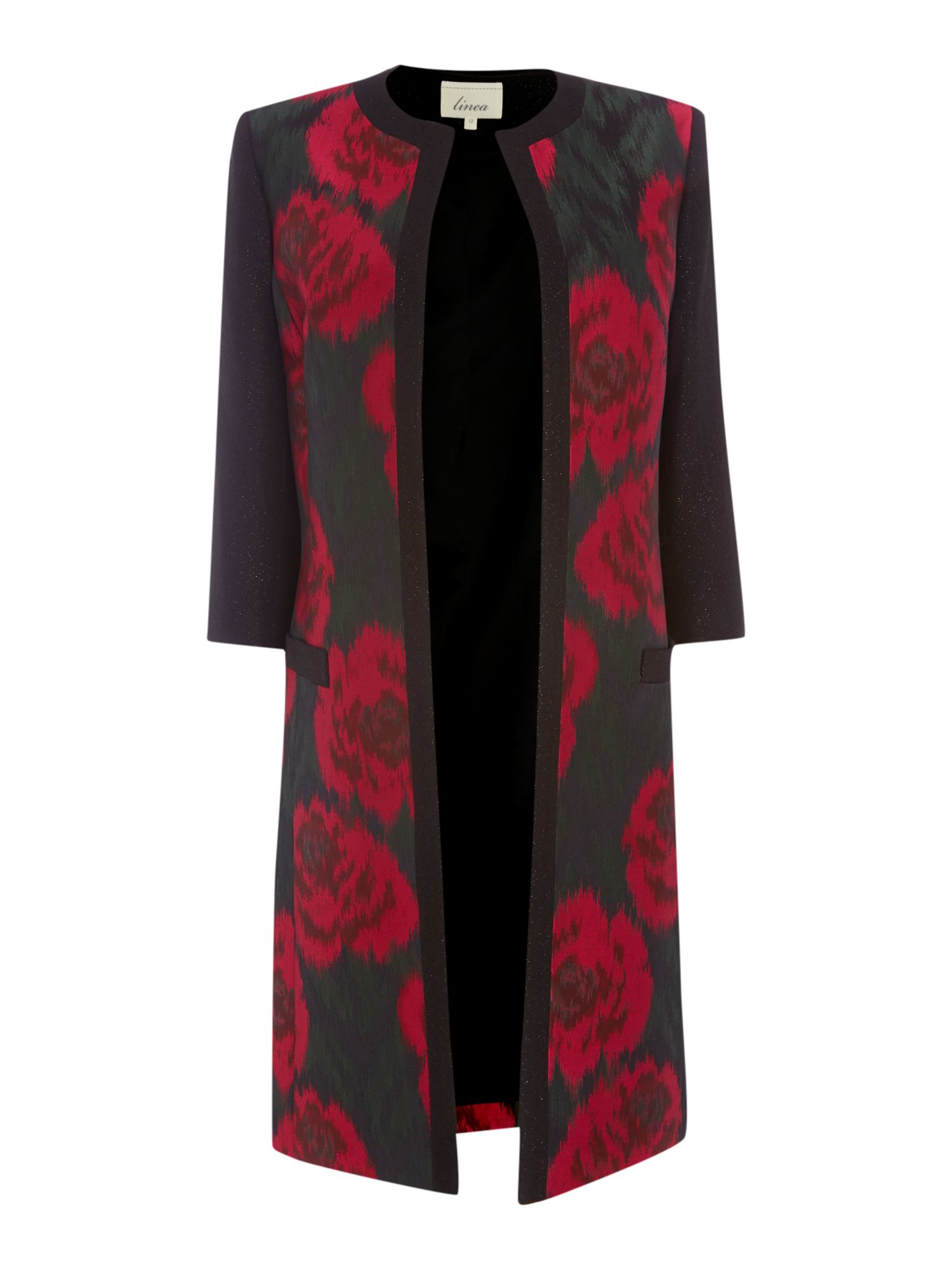 Linea Jacquard rose floral lady coat, Multi-Coloured