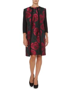 Jacquard rose floral ladycoat