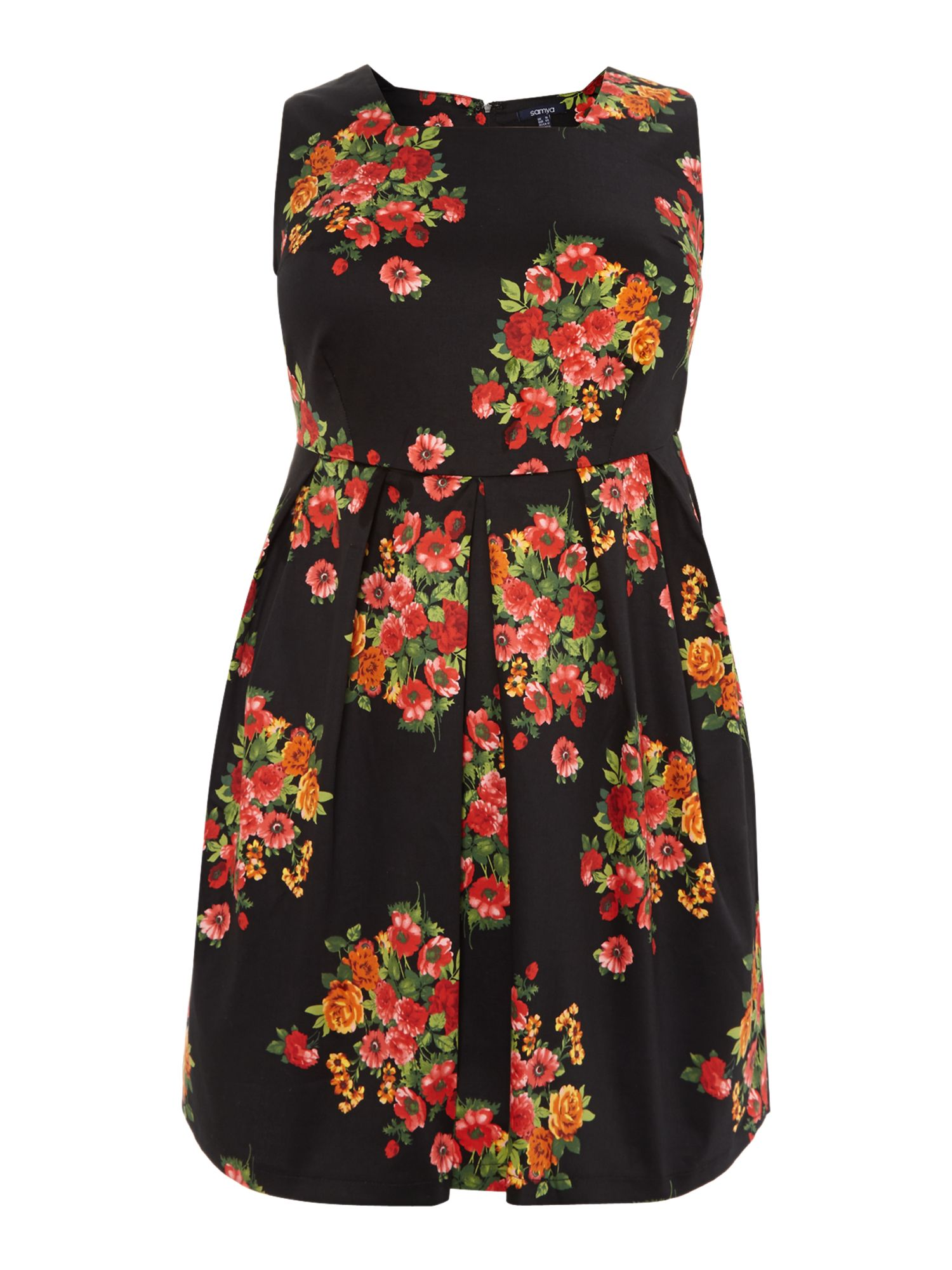 Rose printed sun dress